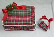 LARGE RED TARTAN PLAID CHRISTMAS HOLIDAY BOX STORAGE JEWELRY SEWING DECORATION