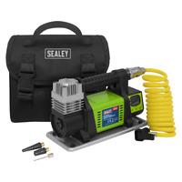 Sealey BD20 Mini Air Compressor 12V Heavy Duty DIGITAL Storage Bag Accessory Kit