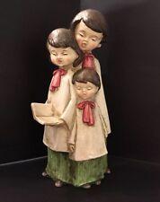 "Midcentury Musical Paper Mache Choir Trio ""O Come All Ye Faithful� Hndmade Japan"
