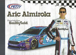 2017 ARIC ALMIROLA  SMITHFIELD #43 NASCAR SPRINT CUP POSTCARD RPM