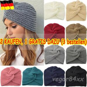 Damen Turban Strickmütze Beanie Kopftuch Wintermütze Kopfbedeckung Kappe Mütze