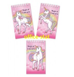 UNICORN Mini NOTEPADS Kids Girls Party Bag Fillers Toys Spiral NOTEBOOKS Loot