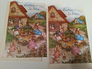 2 EASTER Bunny Rabbits Colored Eggs  Easter Holiday Greeting Cards