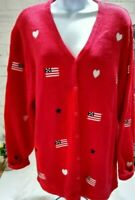 Quacker Factory Red White Blue Patriotic button down cardigan roomy W Size M