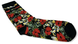 Vans Off The Wall Women's Red Floral Roses Crew Socks (US Shoe Size 7-10)