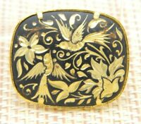 Gold Tone Damascene Floral Bird Pin Brooch Vintage