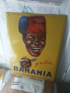 Plaque émaillée banania y'a Bon le petit déjeuner deco loft repro 2002 40cm/30cm