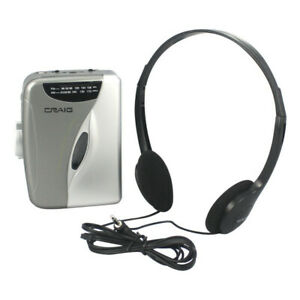 Craig CS2301A Cassette Player with AM/FM  Radio & Headphones in Grey and Silver