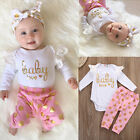2pcs Newborn Infant Baby Girls Romper Bodysuit Clothes Outfits Set 0-24 Months