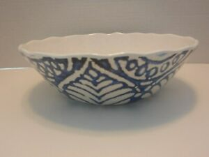 222 Fifth Blue Beige Crackle RUSTIC MEDALLION Serving Bowl 100% Melamine NEW