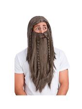 Mens Deluxe Wig & Beard Medieval Wizard Larp Dwarf Jesus Fancy Dress Accessory