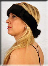 New Black Mink Fur Headband 24 Inches Long and 3 Inches Wide