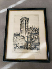 Two Original Antique E. W. Sharland etched paintings, signed.