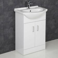 550mm Bathroom Vanity Unit & Basin Sink Floorstanding Gloss White Tap + Waste