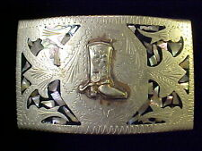 Buckle Abalone Inlays Marked Alpaca Great Southwest Silver Hand Engraved Belt