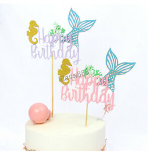 Princess Mermaid Tail Seahorse Seaweed Cake Topper Birthday Theme Party Decor