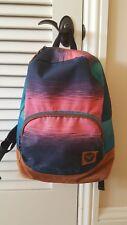 Roxy Backpack Bookbag Suede Bottom Sunset Ocean Colors Pink, Indigo Teal EUC