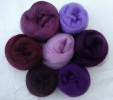 "7 colors Purple people eater Wool roving 1oz ea 2 ~50"" corriedale felt wet soap"