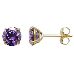 Yellow Gold Amethyst Earrings Solitaire Natural Stone 375 9 Carat New Boxed
