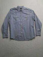 Michael Kors Mens XL Blue Checker Long Sleeve Button Up Dress Shirt Tailored Fit