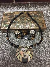 "19"" Lee Sands Abalone Lion Pendant Tiger's Eye Necklace and Bracelet Set Jewelry"