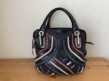 Gianni Chiarini Made in Italy black leather braided satchel handbag