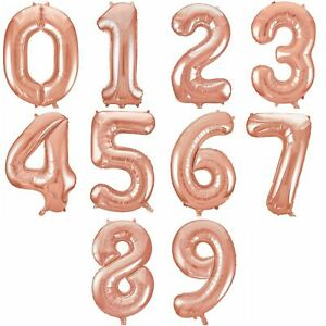 """34"""" Giant Foil Number Rose Gold Helium Large Balloons Birthday Party Wedding"""