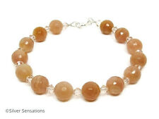 Natural Peach Pink Faceted Sunstones & Crystals Sterling Silver Beaded Bracelet