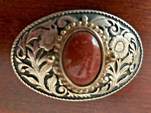 Goldtone Belt Buckle with Red Stone Insert