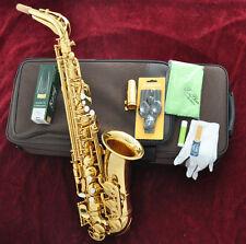 Prof Taishan 5000# Gold Alto Eb SAX Saxophone High F# Heavy neck Free mouthpiece