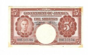 Jamaica - Five (5) Shillings 1960