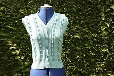 New Hand Knitted sleeveless green waistcoat with bobbles 10 to 14