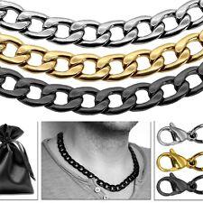 Edelstahlkette Halskette Panzerkette Königskette Herren Armband XXL Set Silbern