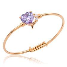 Baby Toddler 18K Gold Filled Love Heart Lilac Purple CZ Zircon Bangle Bracelet