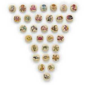 50pcs Halobios Pattern Wood Buttons Sewing Scrapbooking Home Making Decor 15mm
