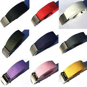 "AU Multi Color Steel Buckle Man Woman Boy Girl Canvas Adjustable Belt 110cm 39"""