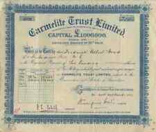 Carmelite Trust Limited Londra 1928 Capital 10 Shilling Historical stocks Bonds