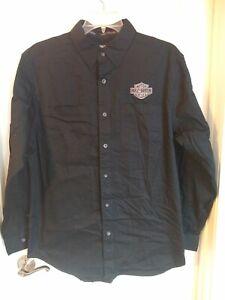 Harley-Davidson Men's Logo Woven Long Sleeve Shirt, Black. 99011-15VM, Large