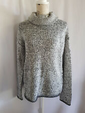 PIPER, MEDIUM, WHITE/BLACK, ROLL NECK, CHUNKY KNIT JUMPER