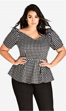 88a9713b3029e City Chic XL 22 Top Check Love Black White Peplum