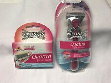 WILKINSON QUATTRO FOR WOMEN Acai+Jojoba RASIERER + 4 KLINGEN Papaya/Acai NEU+OVP