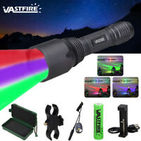 UV Green Red LED Flashlight Hunting Torch Tracker Lamp 18650 Mount Switch A