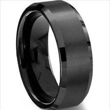 8mm Stainless Steel Ring Men/Women's Wedding Band Rings Silver Black Gold Sz7-11