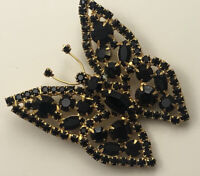 Vintage  large Butterfly Brooch pin in gold tone Metal
