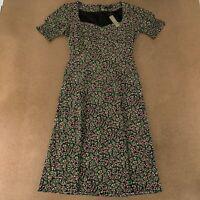 J Crew Women's Size 4 Black Floral Print Smocked Sleeve Midi Sheath Dress NWT