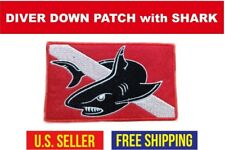 "Scuba - Diver Down Flag Patch 'Shark' - 3.0""x5.0"" Iron On Clothing Embroidered"
