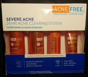 Acne Free Severe Acne 24hr Clearing System 4pc Kit EXP 08/2021+ DAMAGED BOX