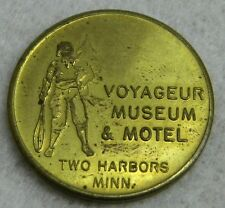 VOYAGEUR MUSEUM & MOTEL Good Luck Souvenir Token Coin Two Harbors Minnesota