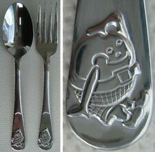 A Child's Stainless Steel Humpty Dumpty Egg Fork & Spoon Cutlery. 14 cm Length