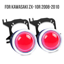 KT LED Angel Eye HID Projector Lens for Kawasaki ZX10R 2008 2010 Headlight Red